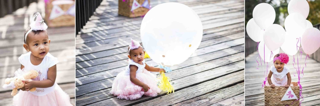 One year old baby girl wearing pink tutu