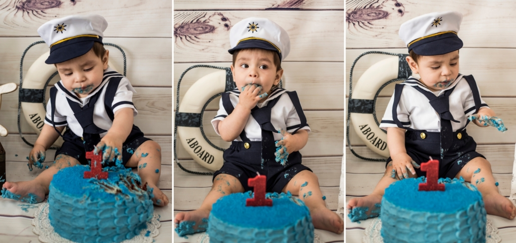 Boy nautical theme cake smash session